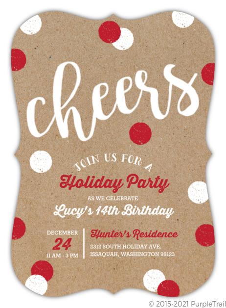Dual Celebration Holiday Birthday Invitation Christmas Birthday