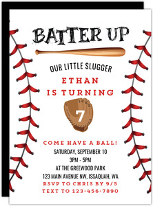 Batter Up Baseball Birthday Invitation