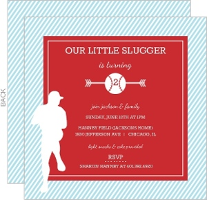 Red And Blue Player Silhouette Baseball Party Invitation