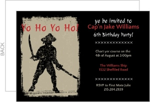 Grungy Pirate Birthday Invite