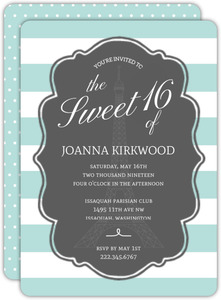 Striped Paris Sweet 16 Birthday Invitation