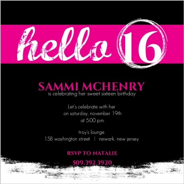 16th birthday invitations free