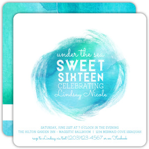 Aqua Splash Sweet Sixteen Birthday Invitation