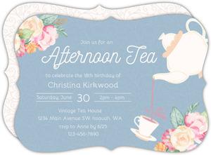 Vintage Afternoon Tea Party Birthday Invitation