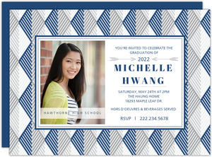 Blue and Gray Geometric Pattern Graduation Invitation