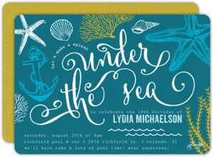 Teal Sketchy Under The Sea Teen Birthday Invitation