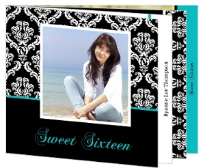 Turquoise And Black Damask Booklet Sweet Sixteen Invitation