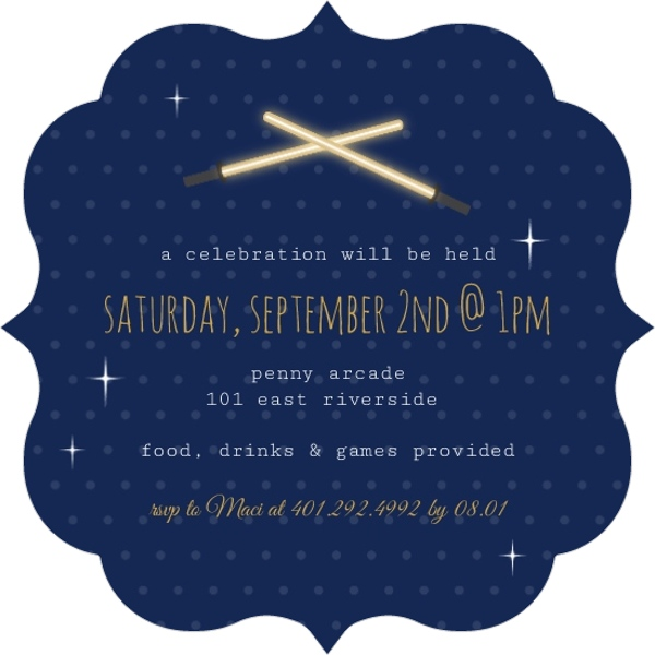Princess Leia Cut Out Space Birthday Invitation