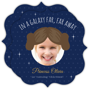 Princess Leia Cut Out Star Wars Birthday Invitation