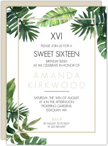 Tropical Green Leaves Wedding Sweet 16 Invitation