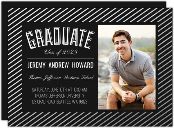 Modern Silver Foil Stripe Frame Graduation Photo Announcement