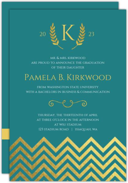 Formal Gold Foil Chevron Decor Graduation Announcement