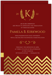 Formal Gold Foil Chevron Decor Graduation Announcement