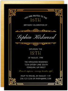 Golden Great Gatsby Teen Birthday Invitation