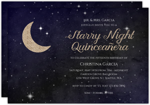 Starry Night Quiceanera Invitation