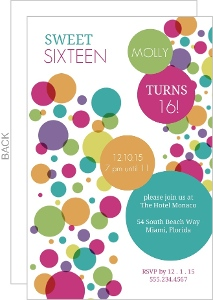 Colorful Bubbles Sweet 16 Birthday Invitation