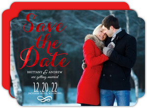 Red Foil Save the Date Script Announcement