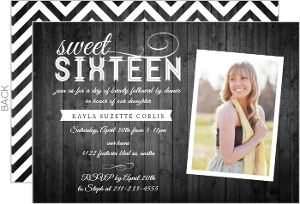 Gray Woodgrain Country Sweet 16 Birthday Invitation