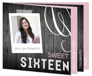 Pink And Gray Woodgrain Booklet Sweet Sixteen Invitation