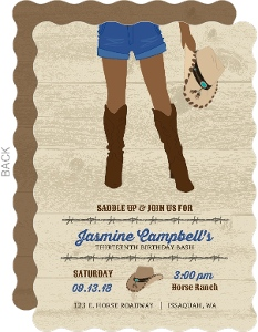 Saddle Up Rustic Cowgirl Teen Birthday Party Invitation