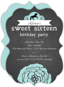 Chalkboard Cowgirl 16Th Birthday Invitation