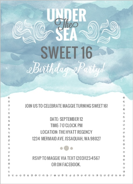 Under The Sea Sweet 16 Birthday Invitations Teen Birthday Invitation