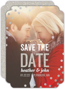 Foil Confetti Snow Save The Date Card