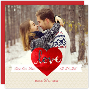 Foil Heart Save The Date Card