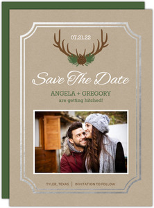 Foil Framed Rustic Antlers Save The Date Card