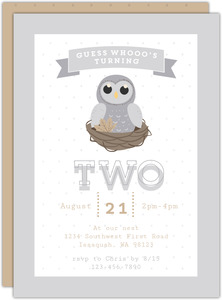 Grey Owl On Nest Kids Birthday Invitation
