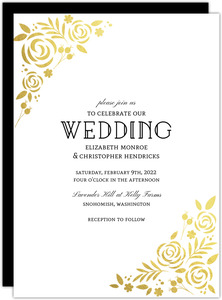 Formal Gold Foil Florals Wedding Invitation