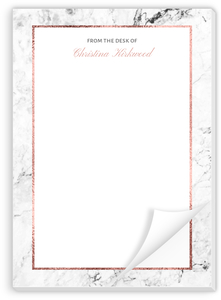 Faux Rose Gold Marble Custom Notepad