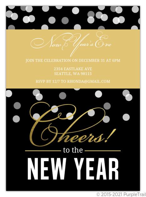 Black Confetti Foil New Years Invitation