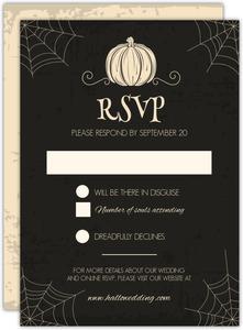 creepy pumpkin halloween wedding response card - Responding To Wedding Rsvp Cards