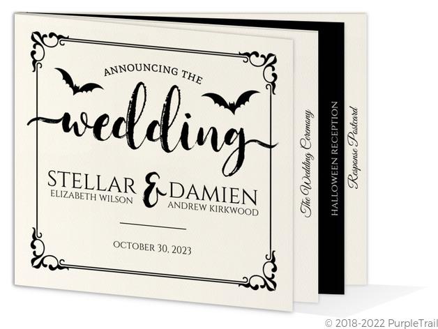 Ornamental Decor Halloween Wedding Booklet Invitation