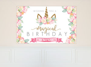 Magical Watercolor Unicorn Birthday Banner
