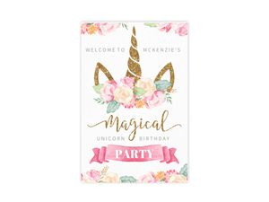 Magical Watercolor Unicorn Birthday Poster