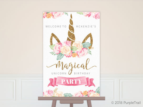 Magical Watercolor Unicorn Birthday Poster Poster Prints