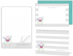 Mint Llama Stationery Set