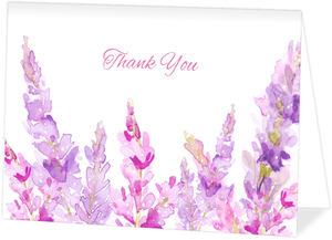 Watercolor Lilac Custom Folded Thank You Card