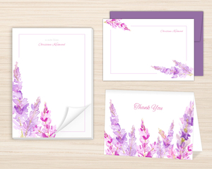 Watercolor Lilac Custom Stationery Set