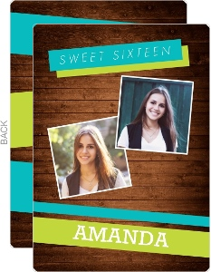 Rustic Woodgrain Teal and Green Stripes Sweet Sixteen Invitation