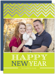 Silver Foil Chevron New Years Photo Card