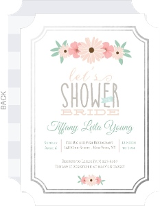 Blush Pink Floral Foil Border Bridal Shower Invitation