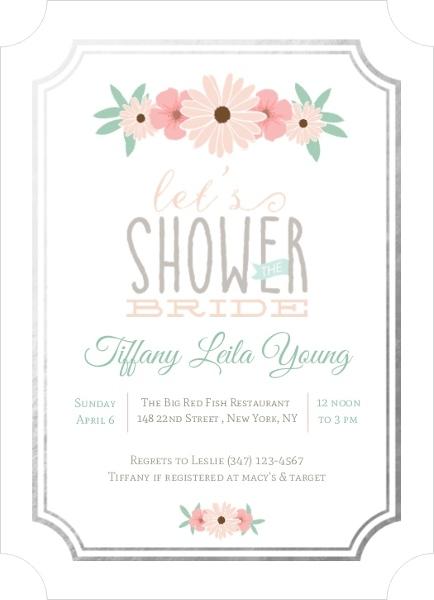 blush pink floral foil border bridal shower invitation