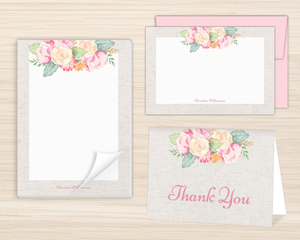 Delicate Floral Decor Stationery Set