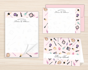 Watercolor Makeup Pattern Stationery Set