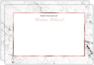 Faux Rose Gold Marble Notecard