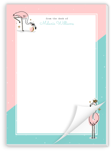 Cute Pink Flamingo Personalized Notepad