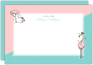 Cute Pink Flamingo Personalized Notecard